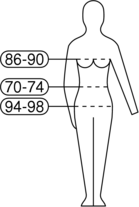 EN 13402-1 pictogram example for dress size 88-72-96